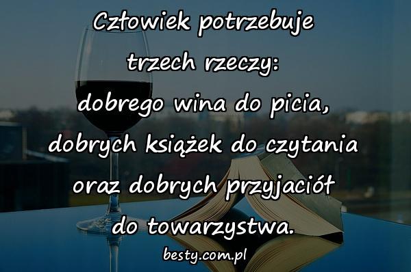 Człowiek potrzebuje trzech rzeczy: dobrego wina do picia, dobrych książek do czytania oraz dobrych przyjaciół do towarzystwa.