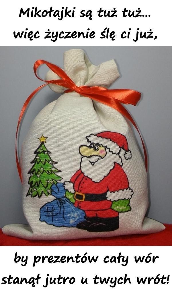 Mikołajki są tuż tuż więc życzenie ślę ci już, by prezentów cały wór stanął jutro u twych wrót!