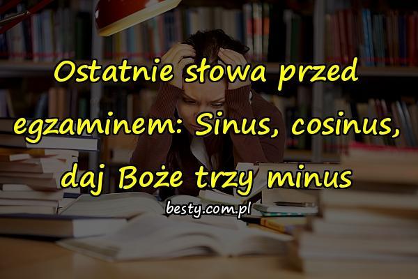 Ostatnie słowa przed egzaminem: Sinus, cosinus, daj Boże trzy minus
