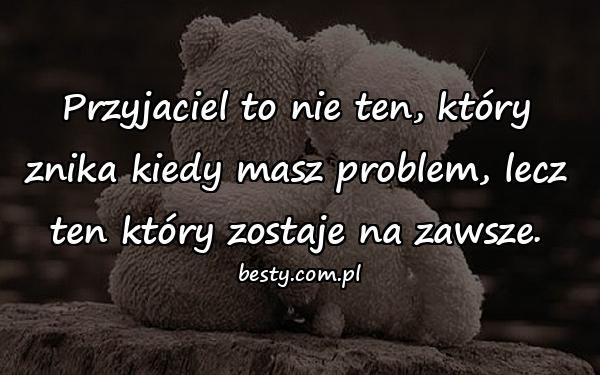 Przyjaciel to nie ten, który znika kiedy masz problem, lecz ten który zostaje na zawsze.