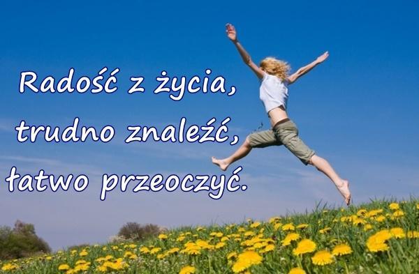 Radość z życia, trudno znaleźć, łatwo przeoczyć...