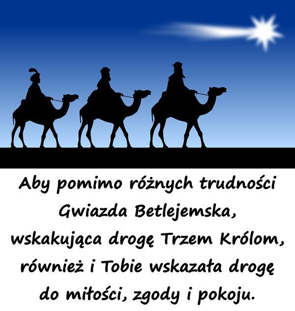 Aby pomimo różnych trudności Gwiazda Betlejemska, wskakująca drogę Trzem Królom, również i Tobie wskazała drogę do miłości, zgody i pokoju.