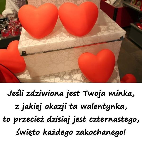Jeśli zdziwiona jest Twoja minka, z jakiej okazji ta walentynka, to przecież dzisiaj jest czternastego, święto każdego zakochanego!