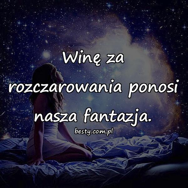 Winę za rozczarowania ponosi nasza fantazja.