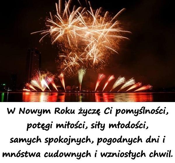 W Nowym Roku życzę Ci pomyślności, potęgi miłości, siły młodości, samych spokojnych, pogodnych dni i mnóstwa cudownych i wzniosłych chwil.
